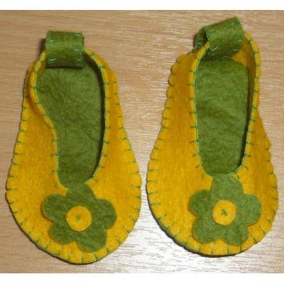 Geel met groen schoentjes