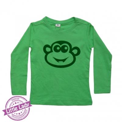 Groene trui met opdruk aap maat 92