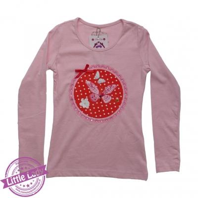 Roze shirtje maat 110/116 met afbeelding vlinders