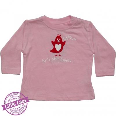 Roze shirtje maat 68 met vogel en tekst