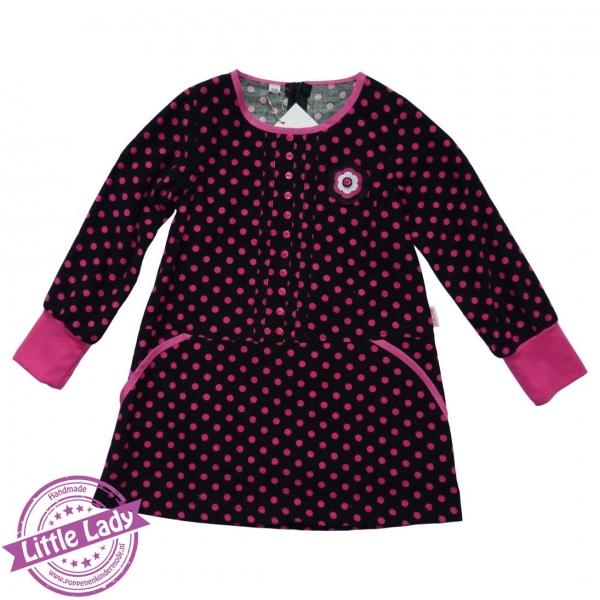 Stippen jurk zwart fuchsia maat 104