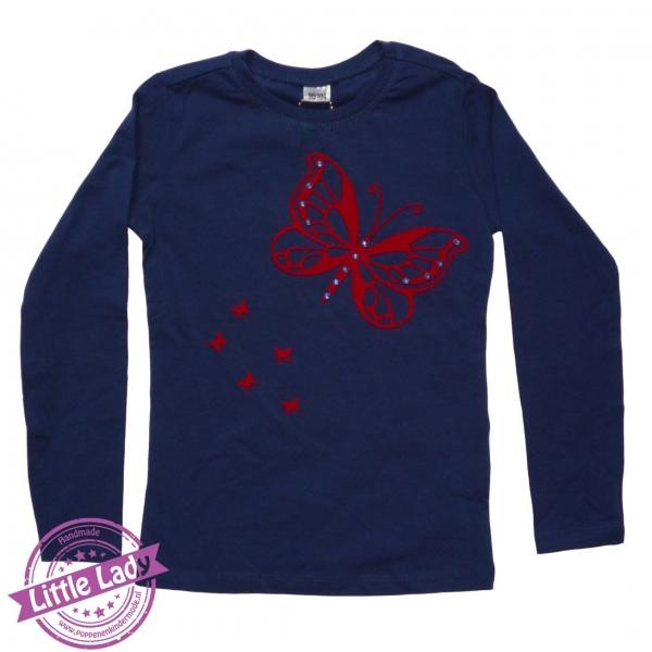 Trui blauw maat 98/104 met vlinder