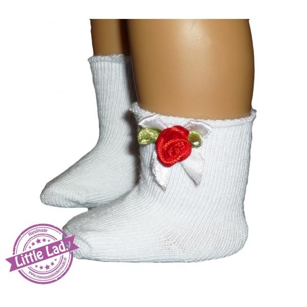 Witte sokjes met strik en roosje