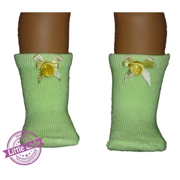 Groene sokjes met strik en roosje
