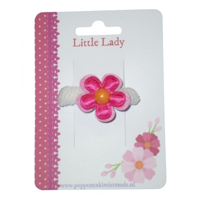 Baby elastiekje wit roze bloem