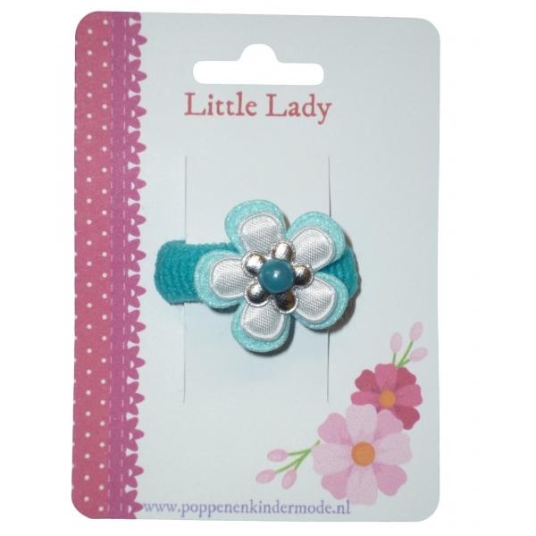 Baby elastiekje bloem blauw