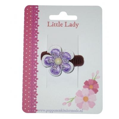 Baby elastiekje paars bloem