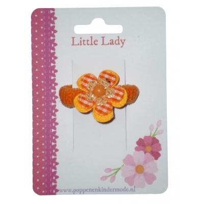 Baby elastiekje oranje bloem