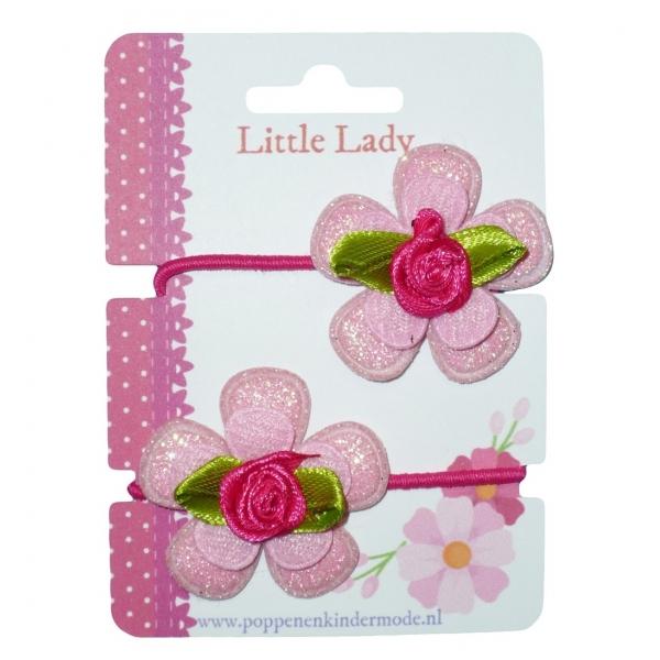 Kleine elastiekjes roze roosje fuchsia
