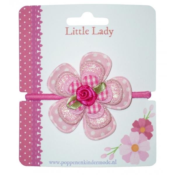 Enkel elastiekje roze met roosje