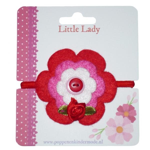 Enkel elastiekje rood met roosje