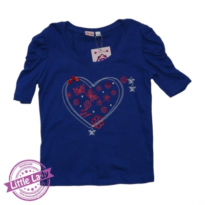 Blauw T-shirt met hippe print maat 116